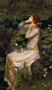 Red Hair Framed Prints - Ophelia Framed Print by John William Waterhouse