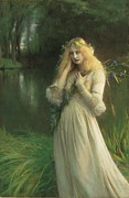 Three-quarter Length Painting Framed Prints - Ophelia Framed Print by Pascal Adolphe Jean Dagnan Bouveret
