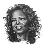 Curls Drawings Posters - Oprah Poster by Marianne NANA Betts