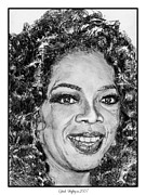 Author Drawings Framed Prints - Oprah Winfrey in 2007 Framed Print by J McCombie