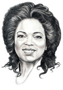 Famous People Drawings - Oprah Winfrey  by Murphy Elliott