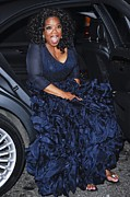 Full Skirt Photos - Oprah Winfrey Wearing Navy Silk-organza by Everett