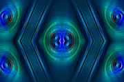Optical Illusion Digital Art Posters - Optical Blue Poster by Carolyn Marshall