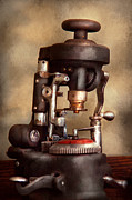 Ophthalmologist Framed Prints - Optometry - Lens cutting machine Framed Print by Mike Savad