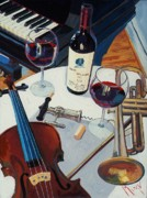 Wine Oil Posters - Opus and Music Poster by Christopher Mize