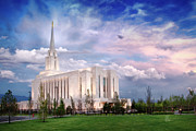 Slc Framed Prints - Oquirrh Mt Temple Framed Print by La Rae  Roberts