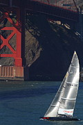 San Francisco Golden Gate Bridge Framed Prints - Oracle Racing Team USA 76 International Americas Cup Sailboat . 7D8071 Framed Print by Wingsdomain Art and Photography