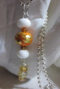 Ball Jewelry - Orange Amber and White with Gold Foil Necklace by Janet  Telander