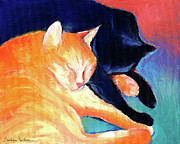 Pet Portrait Drawings Framed Prints - Orange and Black tabby cats sleeping Framed Print by Svetlana Novikova