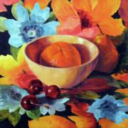 Orange And Cherries Print by Marina Petro