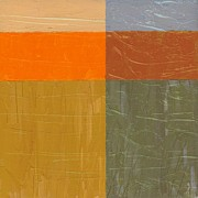 Plaster Digital Art Posters - Orange and Grey Poster by Michelle Calkins