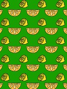 Lemon Art Posters - Orange And Lemon On Green Background Poster by Lana Sundman