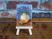 Pottery Pitcher Originals - Orange and Purple Miniature with Easel by Susan Dehlinger
