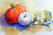 Pumpkins Paintings - Orange and White Pumpkins by Hilda Vandergriff