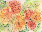 Floral Paintings - Orange and Yellow Blossoms by Christine Crawford