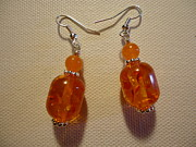 Silver Earrings Jewelry Metal Prints - Orange Ball Drop Earrings Metal Print by Jenna Green