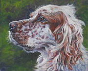 Pup Framed Prints - Orange Belton English Setter Framed Print by Lee Ann Shepard