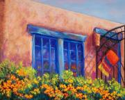 Blue Window Pastels - Orange Berries by Candy Mayer