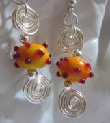Abstract Jewelry - Orange Berry Earrings by Janet  Telander