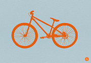 Wheels Digital Art Posters - Orange Bicycle  Poster by Irina  March