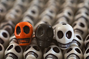 Skulls Photos - Orange Black And White by Mike Herdering