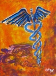 Medicine Painting Prints - Orange Blue Purple Medical Caduceus thats Atmospheric and Rising with Mystery Print by M Zimmerman