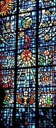 Church Glass Art Metal Prints - Orange Blue Stained Glass Window Metal Print by Thomas Woolworth