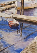 Boats In Water Paintings - Orange Boat and Blue Sky by John Bowen