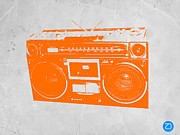Vintage Music Player Prints - Orange boombox Print by Irina  March