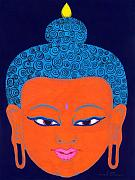 Illustrative Prints - Orange Buddha Print by Michelle  Darensbourg