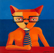 Business Paintings - Orange Business Cat by Mike Lawrence