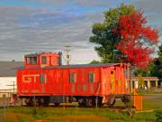 Caboose Prints - Orange Caboose Print by Michael Durst