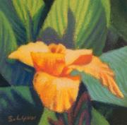 Miniatures Art - Orange Cannas by Sandra Lynn