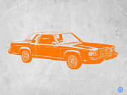 Old Paper Art Prints - Orange Car Print by Irina  March