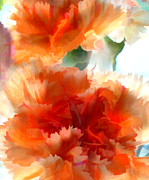 Perennials Painting Posters - Orange Carnations Poster by Elaine Plesser