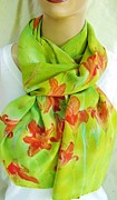 Silk Scarf Tapestries - Textiles Originals - Orange Chartreuse Daylily Silk Crepe Scarf by Morgan Silk