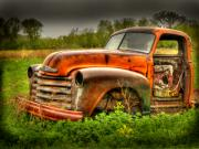 Old Chevrolet Truck Posters - Orange Chevy Poster by Thomas Young