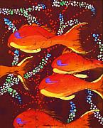 Tropical Fish Tapestries - Textiles Posters - Orange Coral Reef Fish Poster by Kay Shaffer