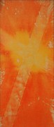 Holy Spirit Tapestries - Textiles Prints - Orange Cross Print by Brandi Webster