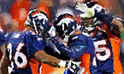 Denver Broncos Digital Art Prints - Orange Crush Print by Carrie OBrien Sibley