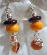 Abstract Jewelry - Orange delight earrings by Janet  Telander