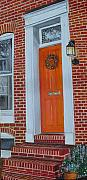 John Schuller Posters - Orange Door Fells Point Poster by John Schuller