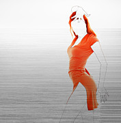 Dress Digital Art Posters - Orange Dress Poster by Irina  March