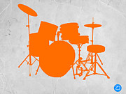 Drum Set Art Prints - Orange Drum Set Print by Irina  March