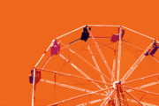 Memories Digital Art Prints - Orange Ferris Wheel Print by Glennis Siverson