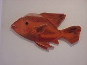 Orange Fish Print by Val Oconnor