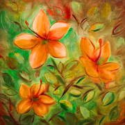 Gina Gray Paintings - Orange Flowers by Gina De Gorna
