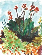 Longfellow Paintings - Orange Flowers in Longfellow Gardens by Christina Plichta