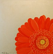 Silver Leaf Paintings - Orange Gerbera Daisy on Silver Leaf by Michele Harps