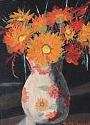 Vase Of Flowers Prints - Orange Gerberas  Print by Kate Farrant